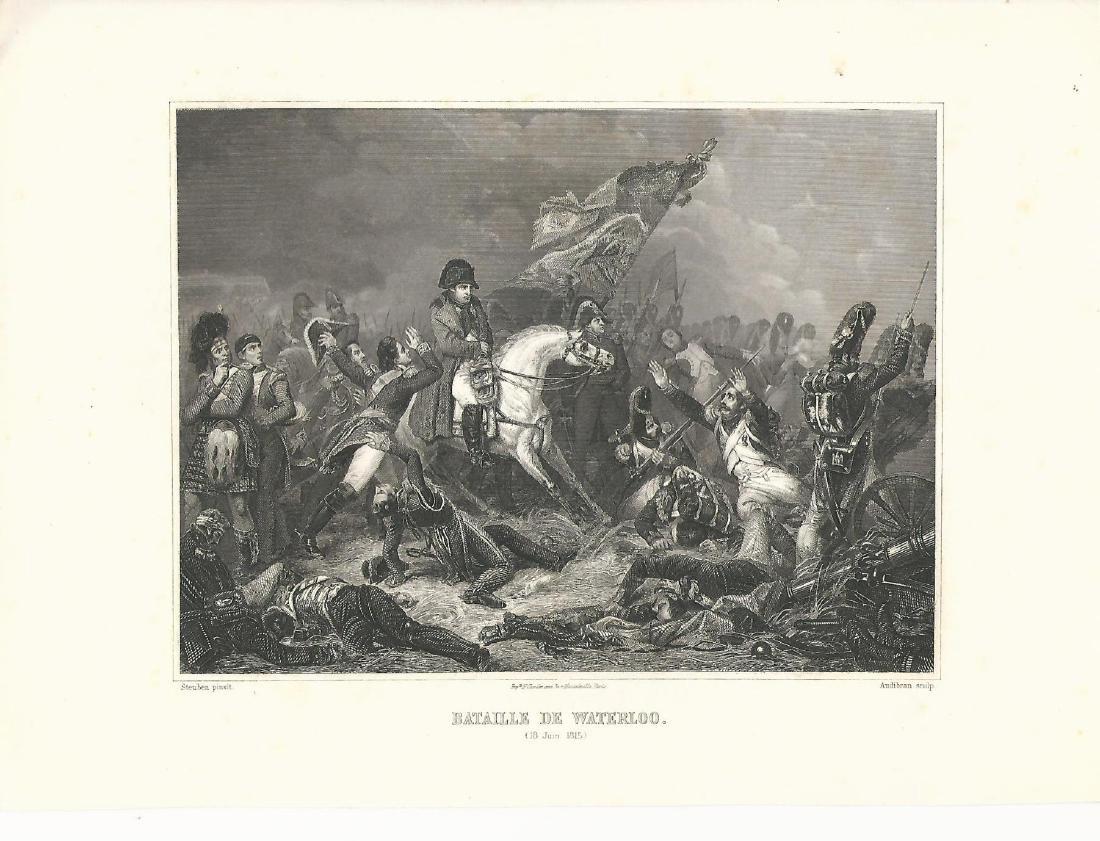 C1865 Steel Engraving of Battle of Waterloo , by