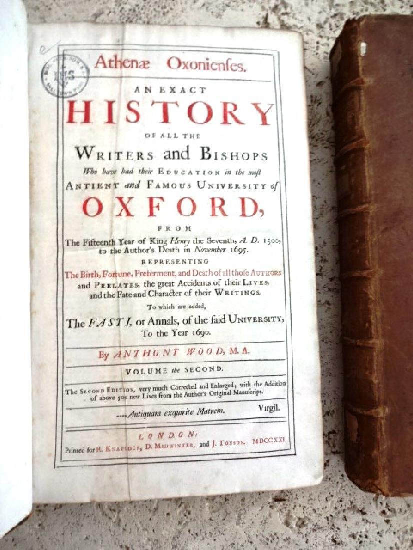 1721 Athenae Oxonienses Exact History Writers & Bishops - 3