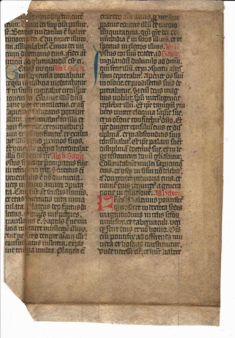 Large Medieval Manuscript Leaf Vellum 15th Century