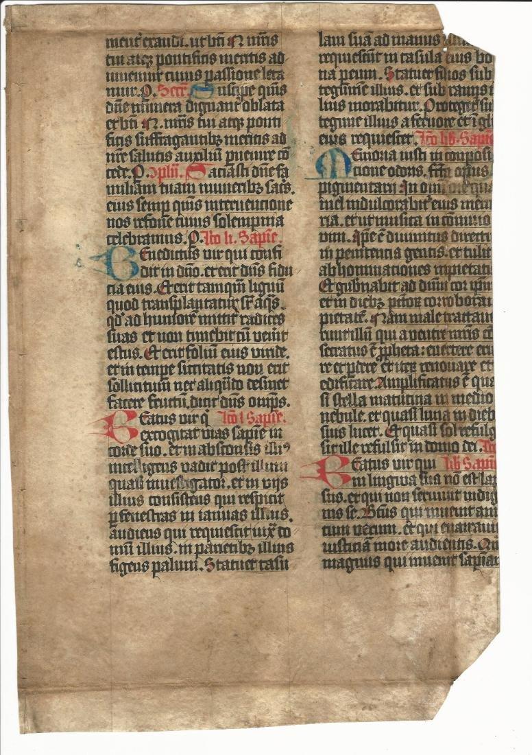 Large Medieval Manuscript Leaf Vellum 15th Century - 2