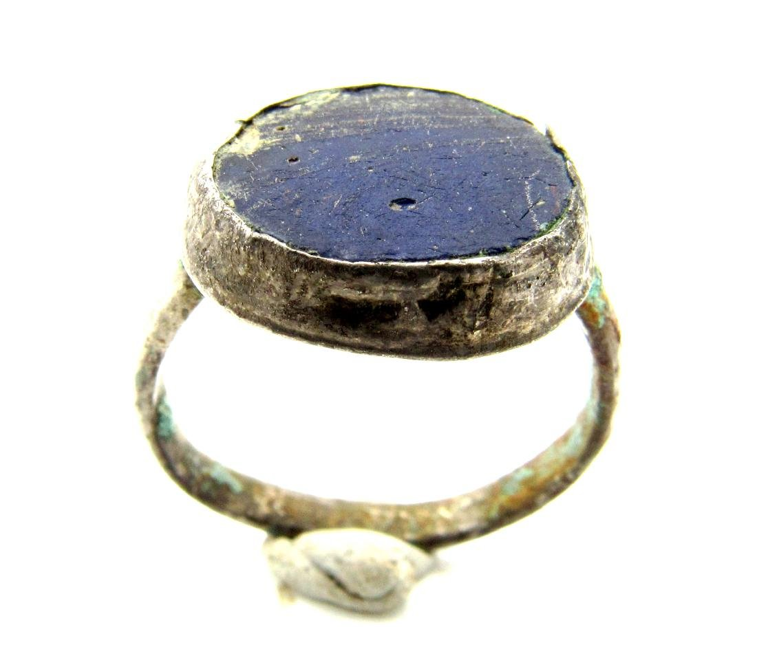 Byzantine Ring with Blue Gem - 2