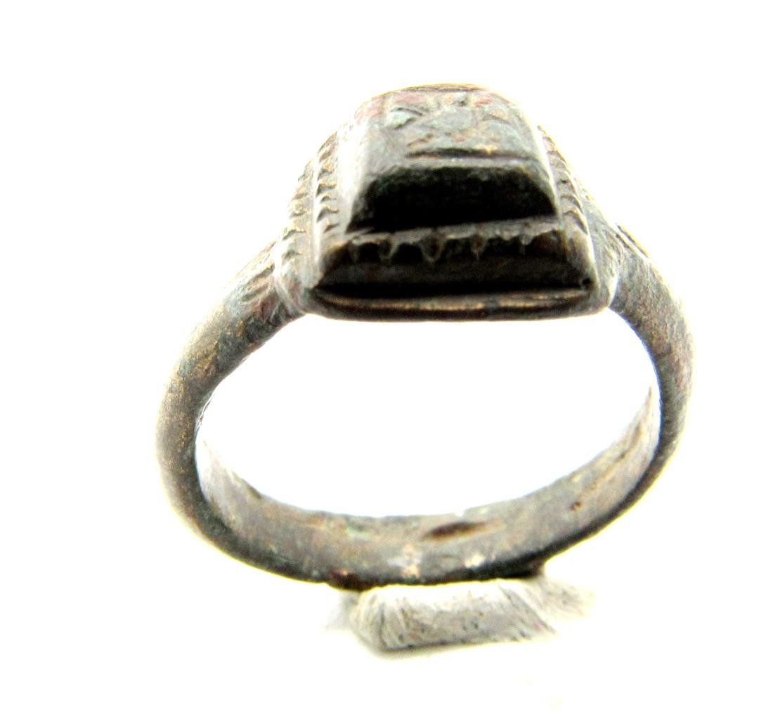 Roman Decorated Pyramid Ring