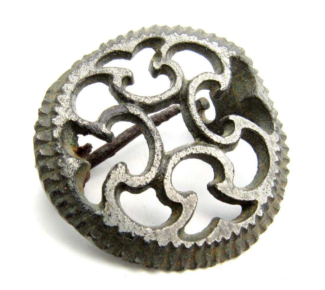 Roman Silvered Plate Brooch with Cruciform Motif