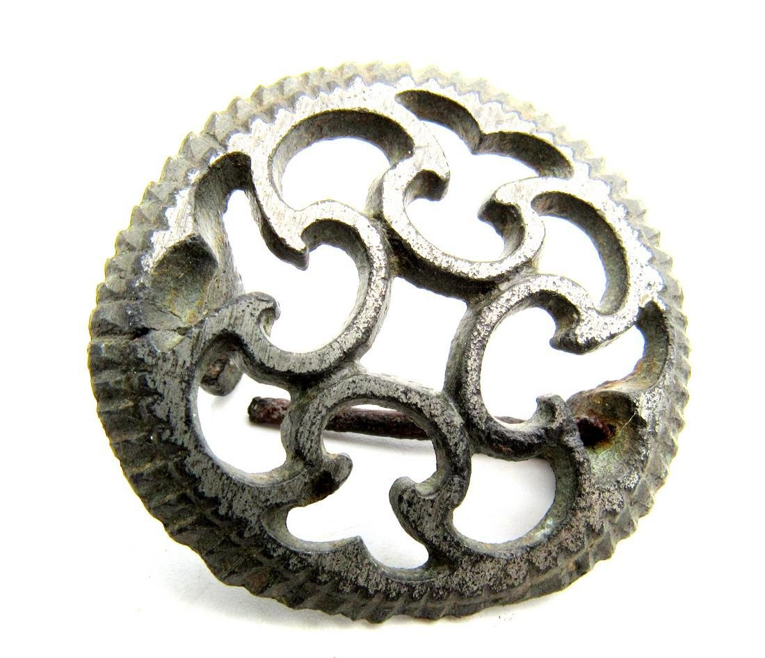 Roman Silvered Plate Brooch with Cruciform Motif - 2