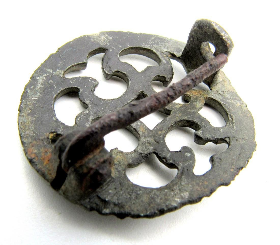 Roman Silvered Plate Brooch with Cruciform Motif - 3
