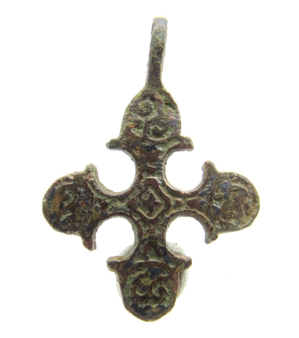 Viking Cross Pendant Decorated with Runic script