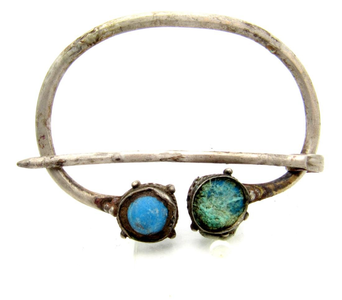 Viking Silver Omega Brooch with Stones in Terminals