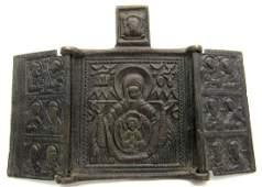 Medieval 3-Panel Icon with Mary & Jesus & Saints