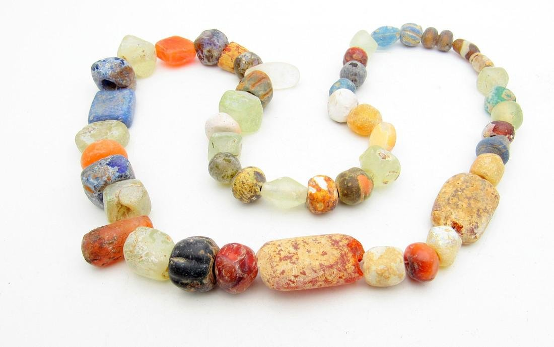 Viking Period Glass Beaded Necklace - 49 beads - 2