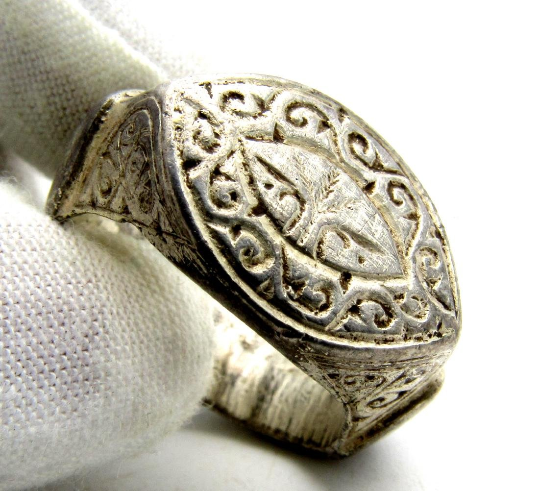 Huge Viking Warrior's Silver Ring with Runes