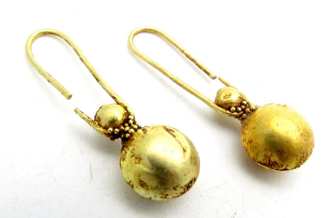 Viking Pair of Gold Earrings with Filigree - 3