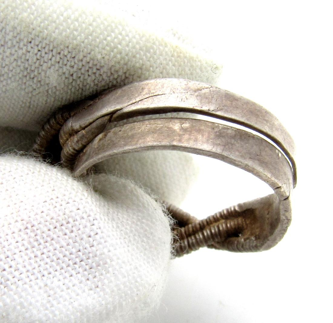 Viking Twisted Silver Ring with Three Coils - 3