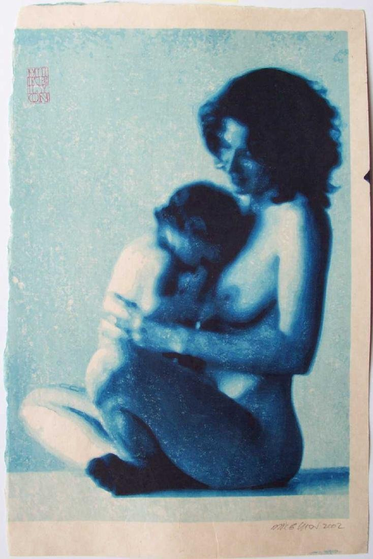Mike Lyon Mother and Child Japanese Woodblock Print