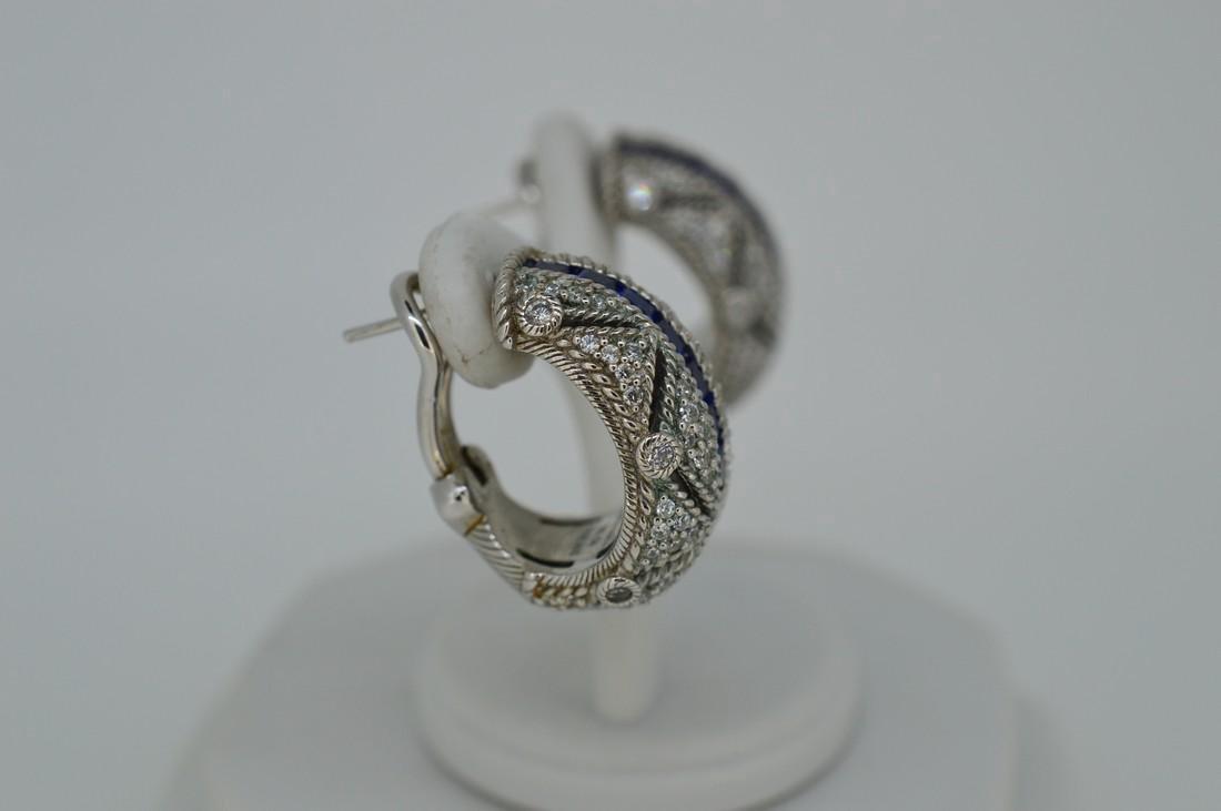 Judith Ripka Sterling Sapphire Cubic Zirconia Earrings - 2
