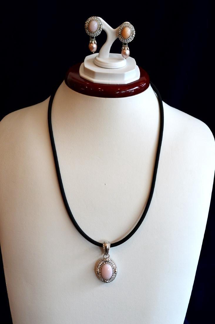 Judith Ripka Sterling Pink Pearl Enhancer & Earrings