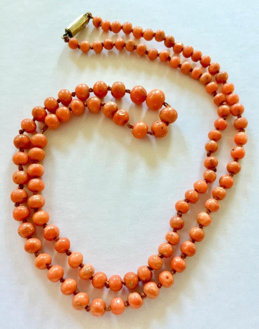 Antique Victorian Coral 9K Gold Necklace