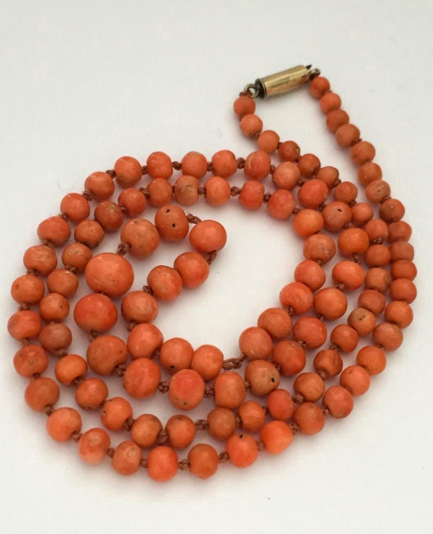 Antique Victorian Coral 9K Gold Necklace - 2