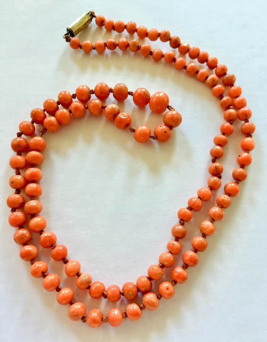 Antique Victorian Coral 9K Gold Necklace - 3