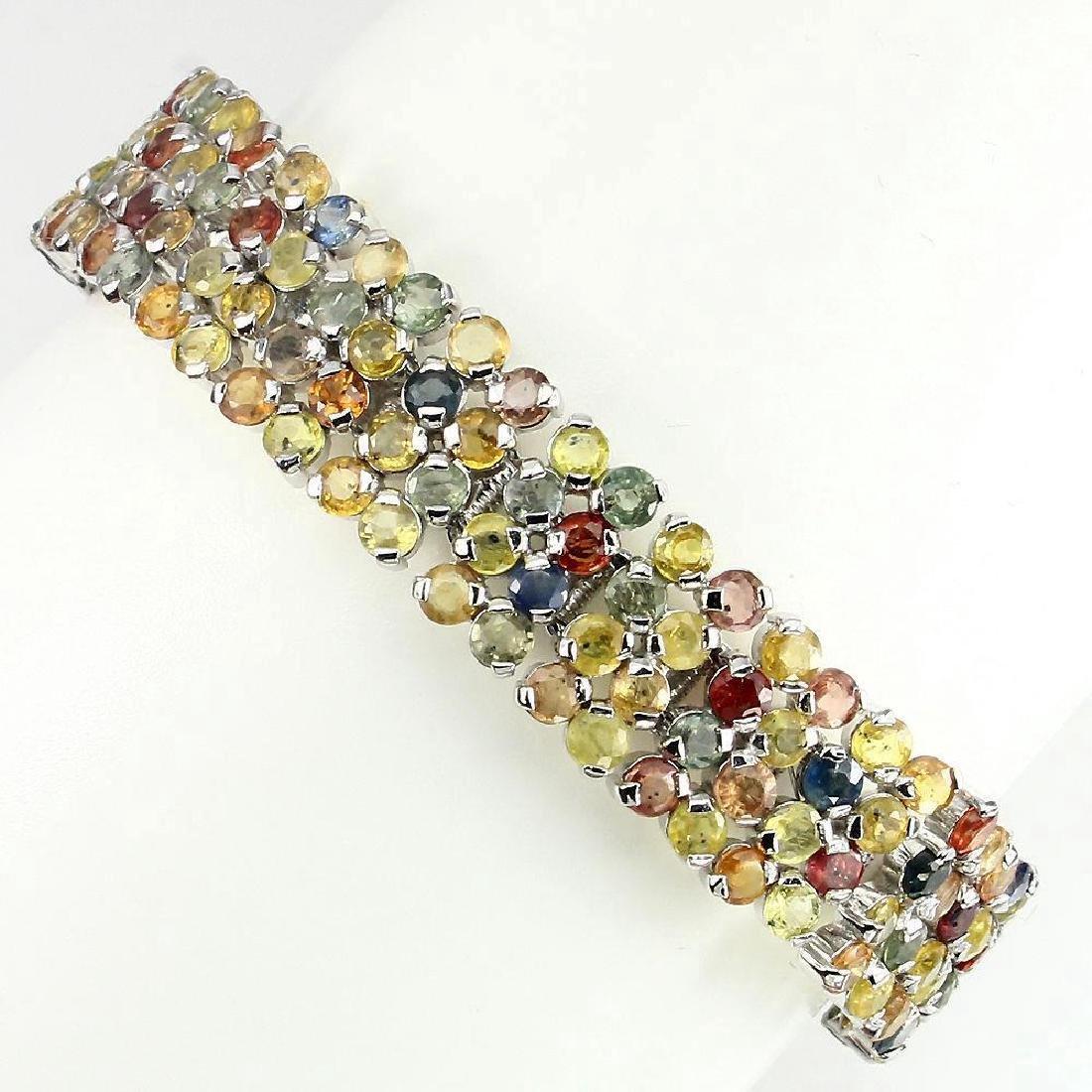 Platinum Sterling Multi-Color Sapphire Bracelet 33.22ct