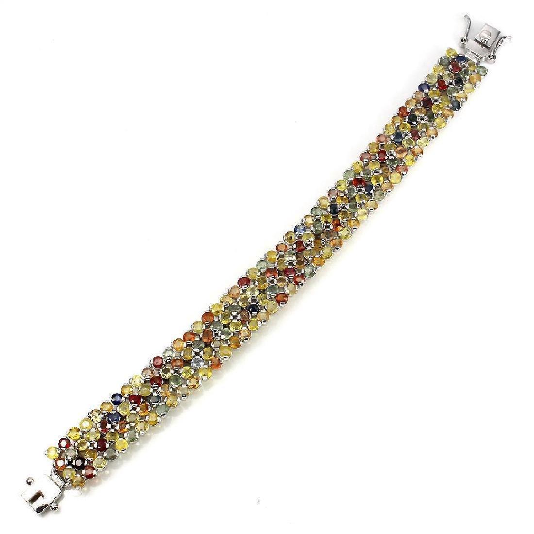 Platinum Sterling Multi-Color Sapphire Bracelet 33.22ct - 3
