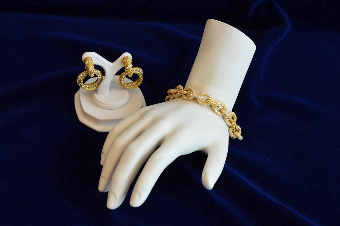 Judith Ripka Gold Clad Sterling CZ Bracelet & Earrings