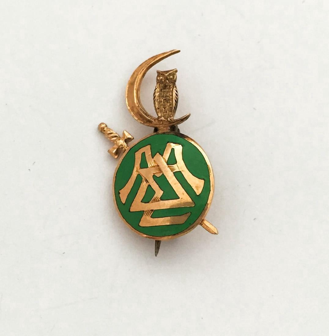 14K Gold Green Enamel Pin
