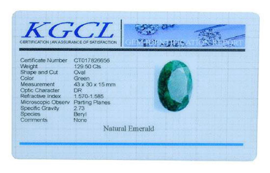 129.50 Carat Genuine Loose Emerald, KGCL Cert - 2