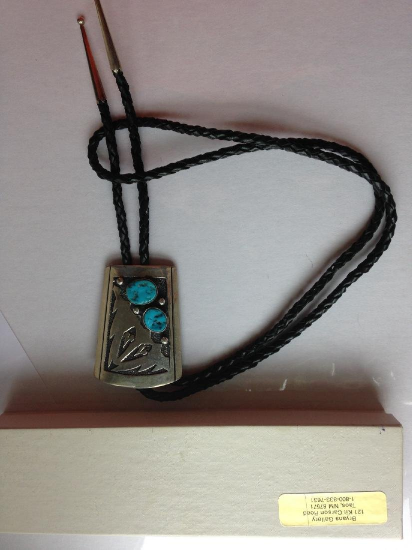 Thomas Singer Sterling Silver Turquoise Navajo Bolo Tie - 3
