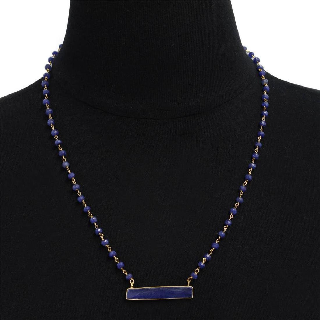 18K Gold Sterling Silver Sapphire Necklace, 58ctw
