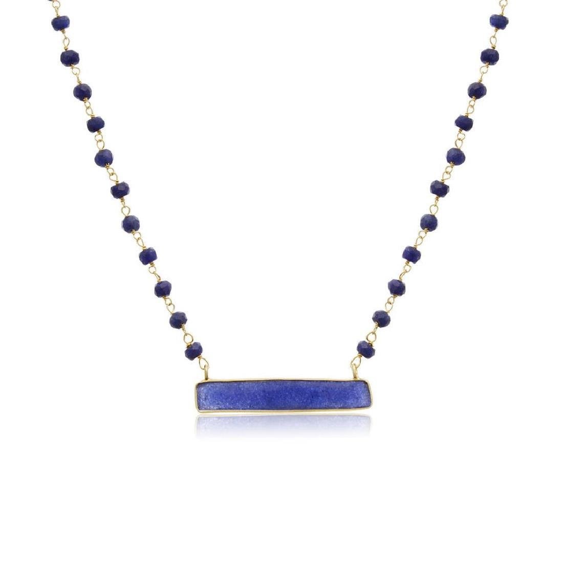 18K Gold Sterling Silver Sapphire Necklace, 58ctw - 2