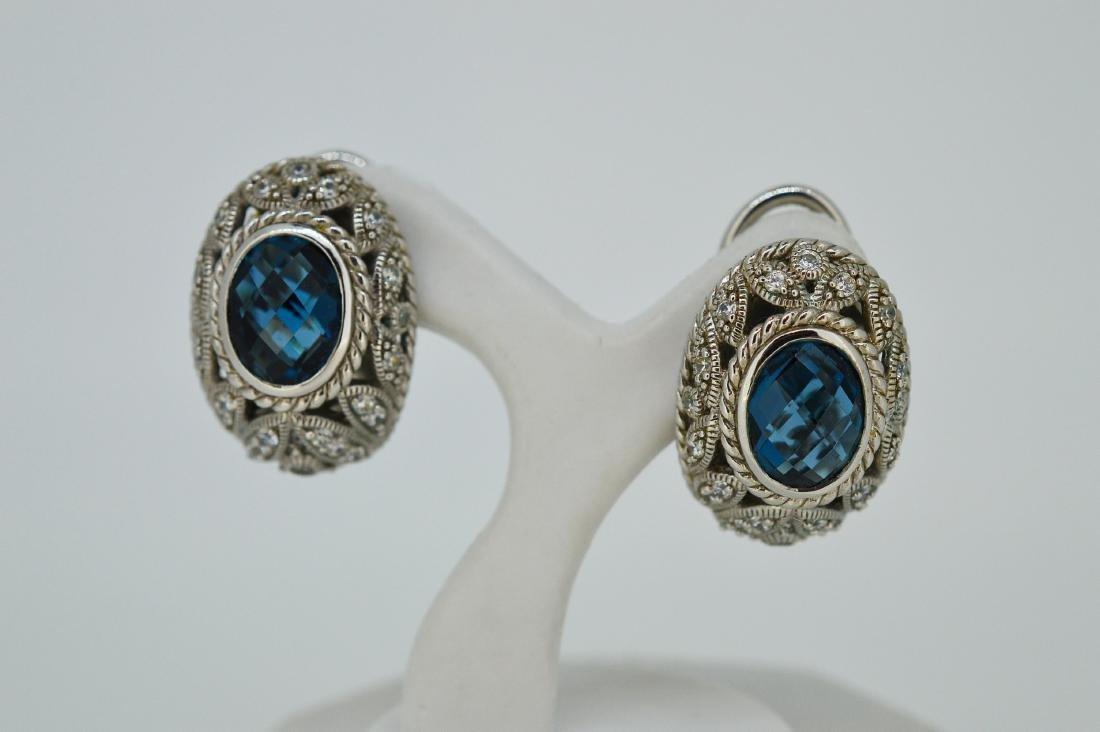 Judith Ripka Sterling Silver Blue Topaz Earrings