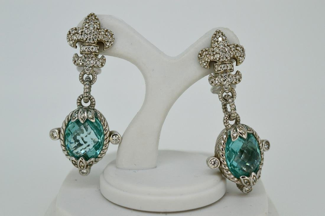 Judith Ripka Sterling Silver Blue Topaz Drop Earrings