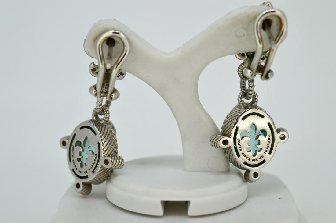 Judith Ripka Sterling Silver Blue Topaz Drop Earrings - 2