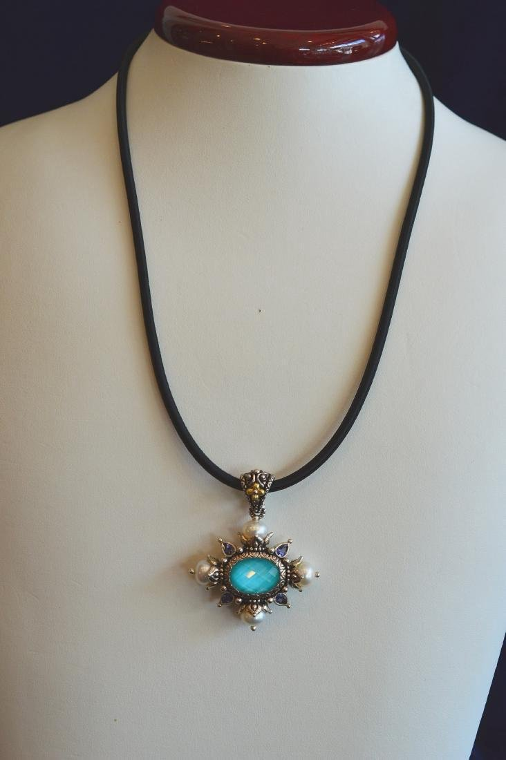 Sterling Silver 18k Gold Clad Turquoise Pearl Enhancer
