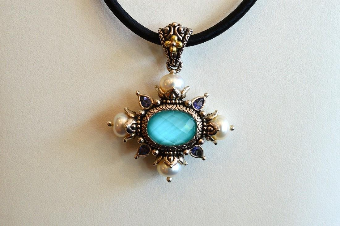 Sterling Silver 18k Gold Clad Turquoise Pearl Enhancer - 2