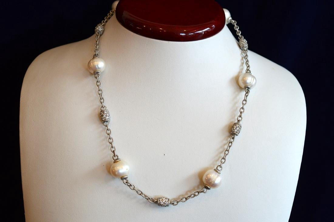 Judith Ripka Sterling Silver Pearl Barrel Necklace