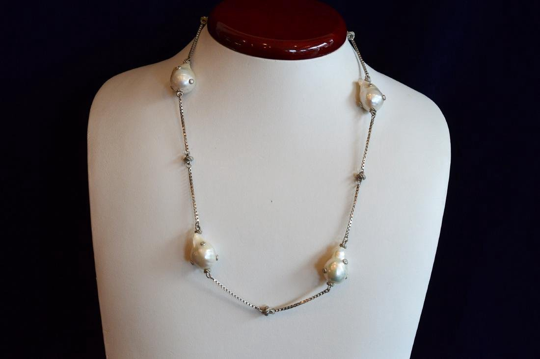 Judith Ripka Sterling Silver Baroque Pearl Necklace
