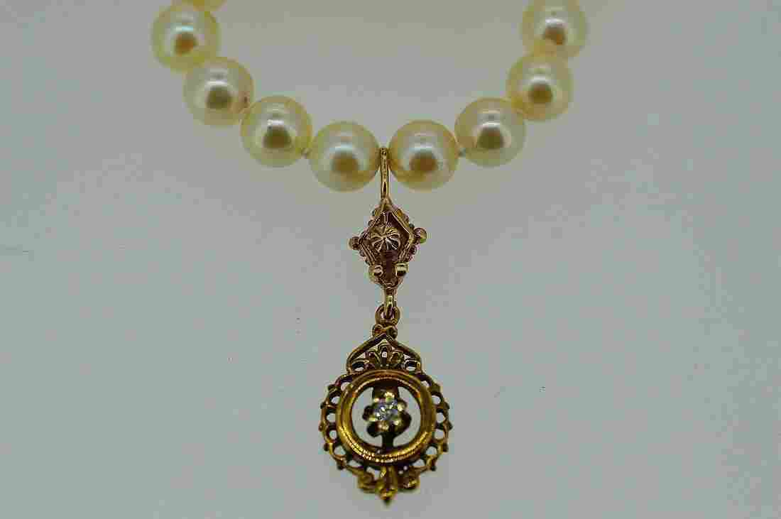 Antique 14K Gold Diamond Pearl Necklace