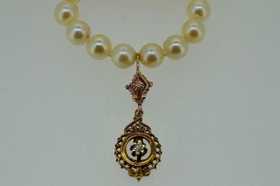Antique 14K Gold Diamond Pearl Necklace