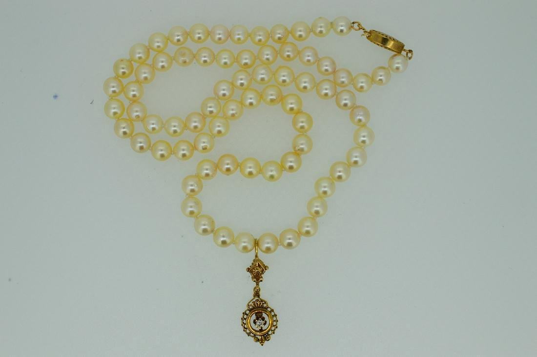 Antique 14K Gold Diamond Pearl Necklace - 2