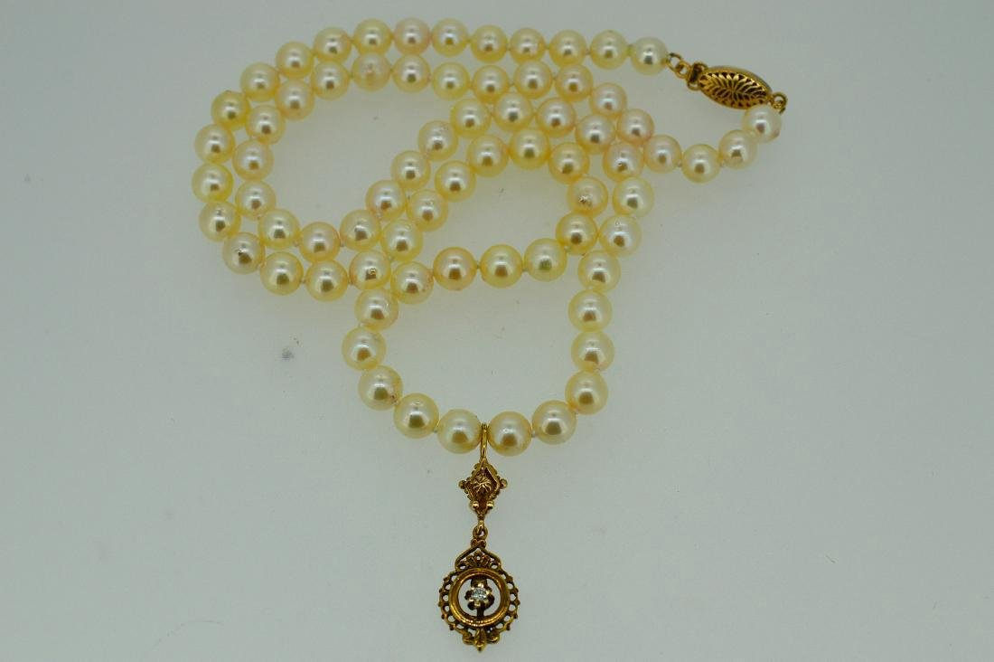Antique 14K Gold Diamond Pearl Necklace - 3
