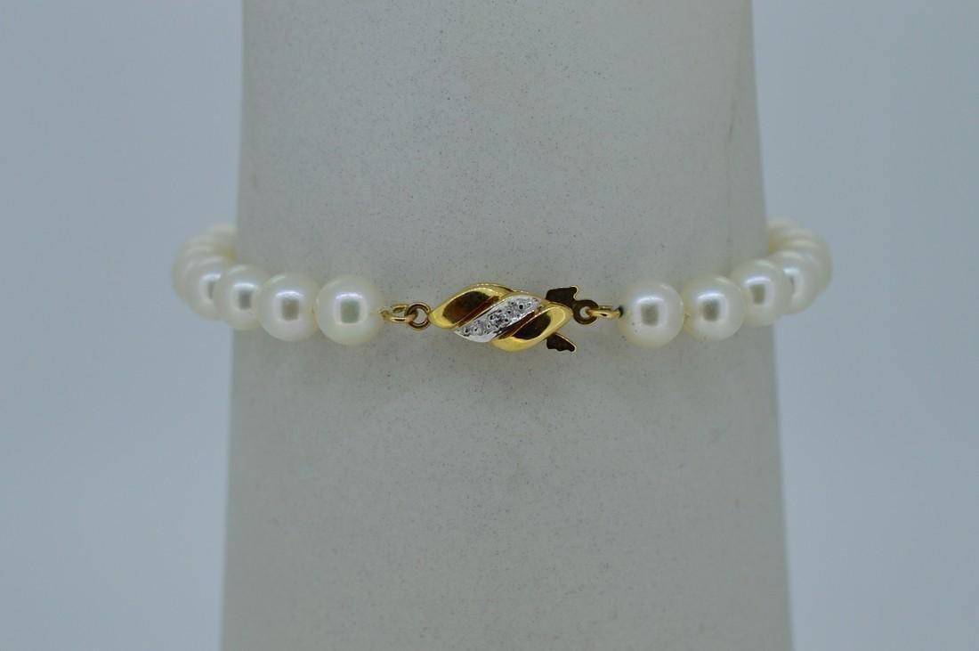14K Yellow Gold Akoya Pearl Bracelet - 2