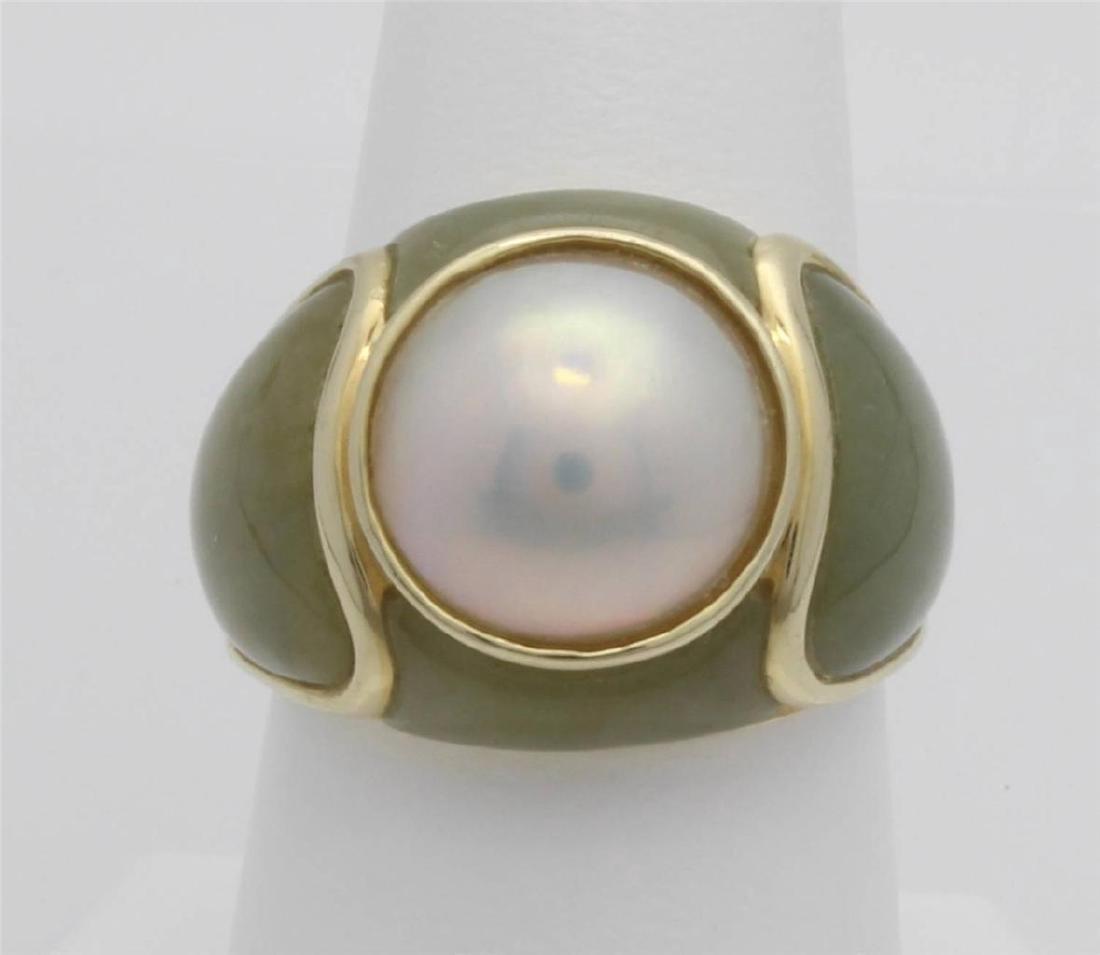 14 Gold Jade & Pearl Ring