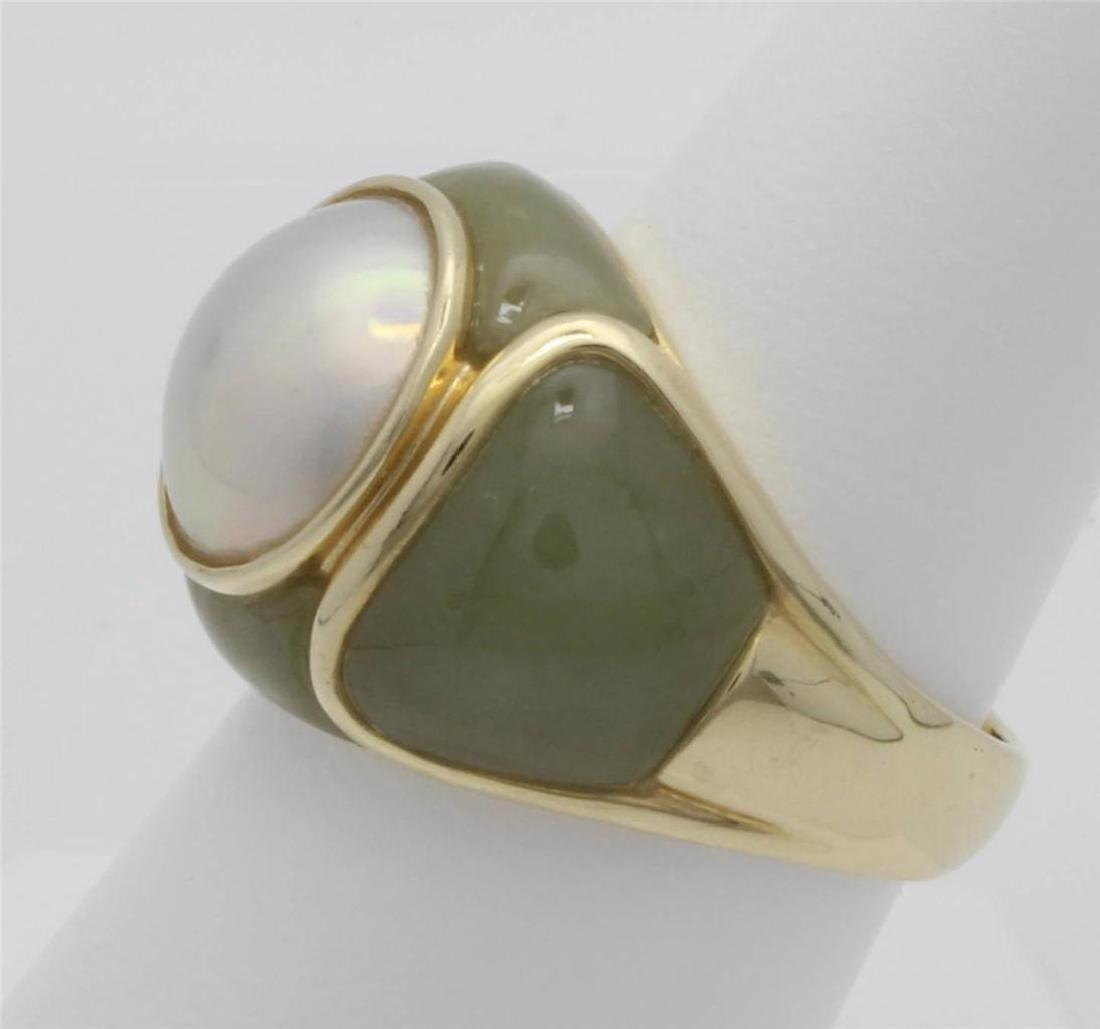 14 Gold Jade & Pearl Ring - 2