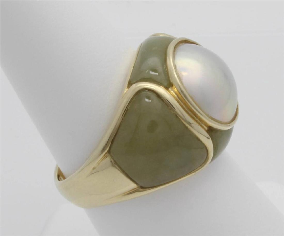 14 Gold Jade & Pearl Ring - 3