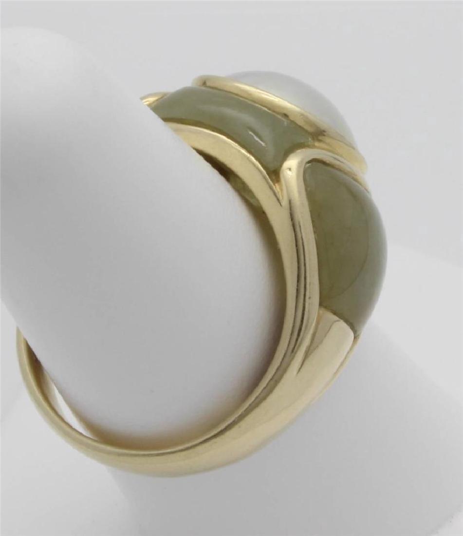 14 Gold Jade & Pearl Ring - 4