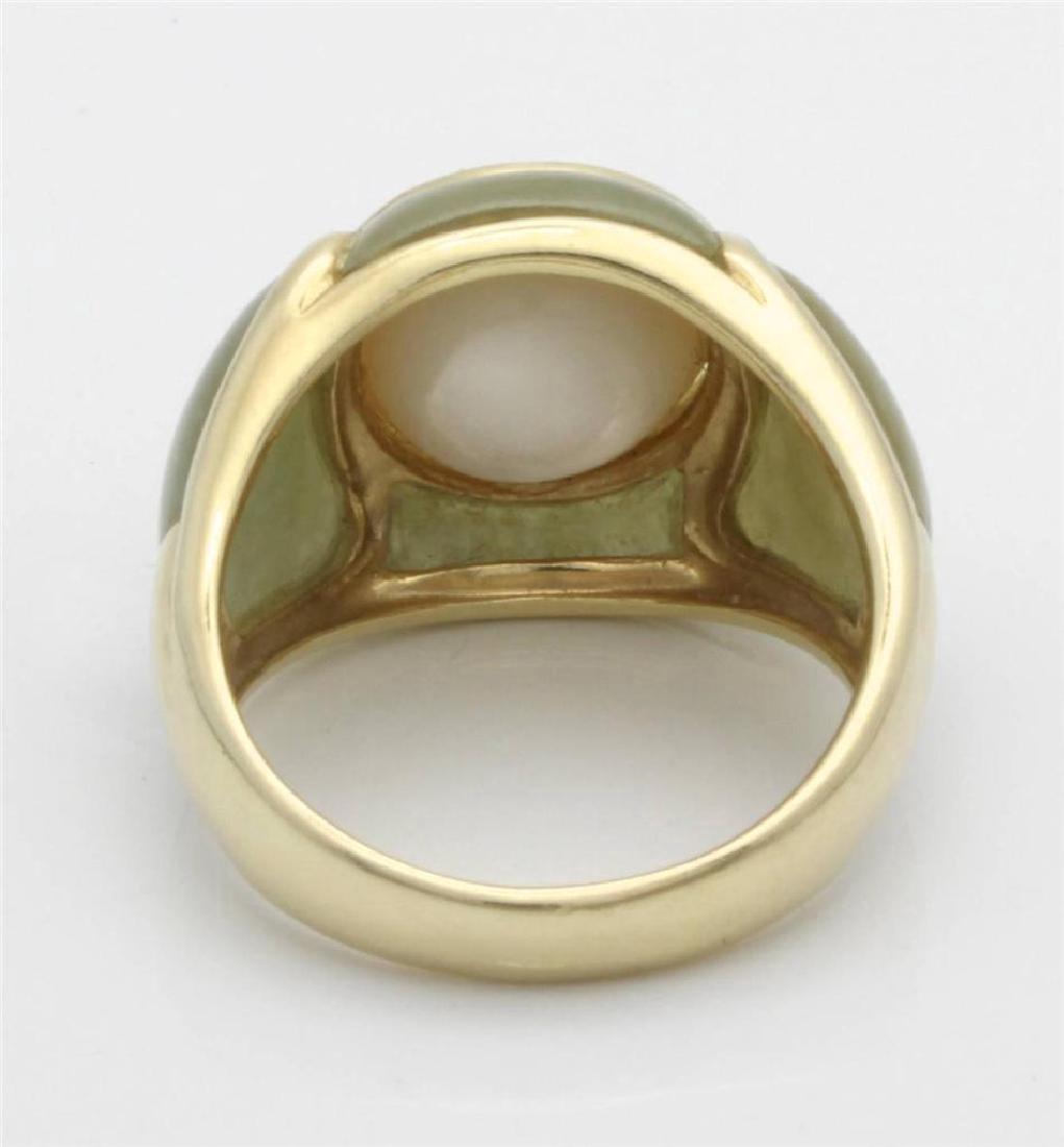 14 Gold Jade & Pearl Ring - 5