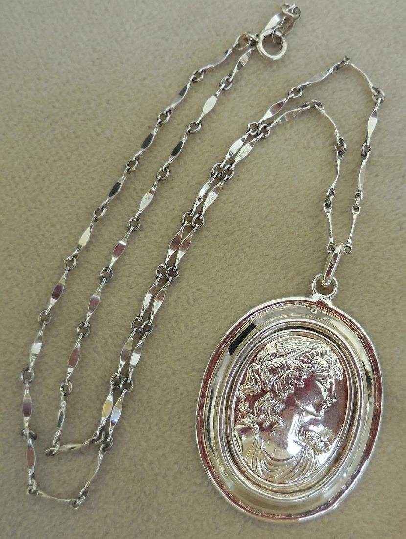 Mid-Century Italian Sterling Silver Cameo Necklace - 2