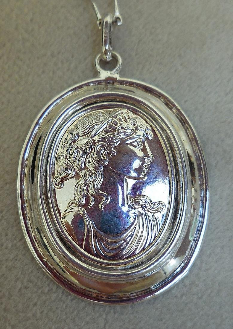 Mid-Century Italian Sterling Silver Cameo Necklace - 4