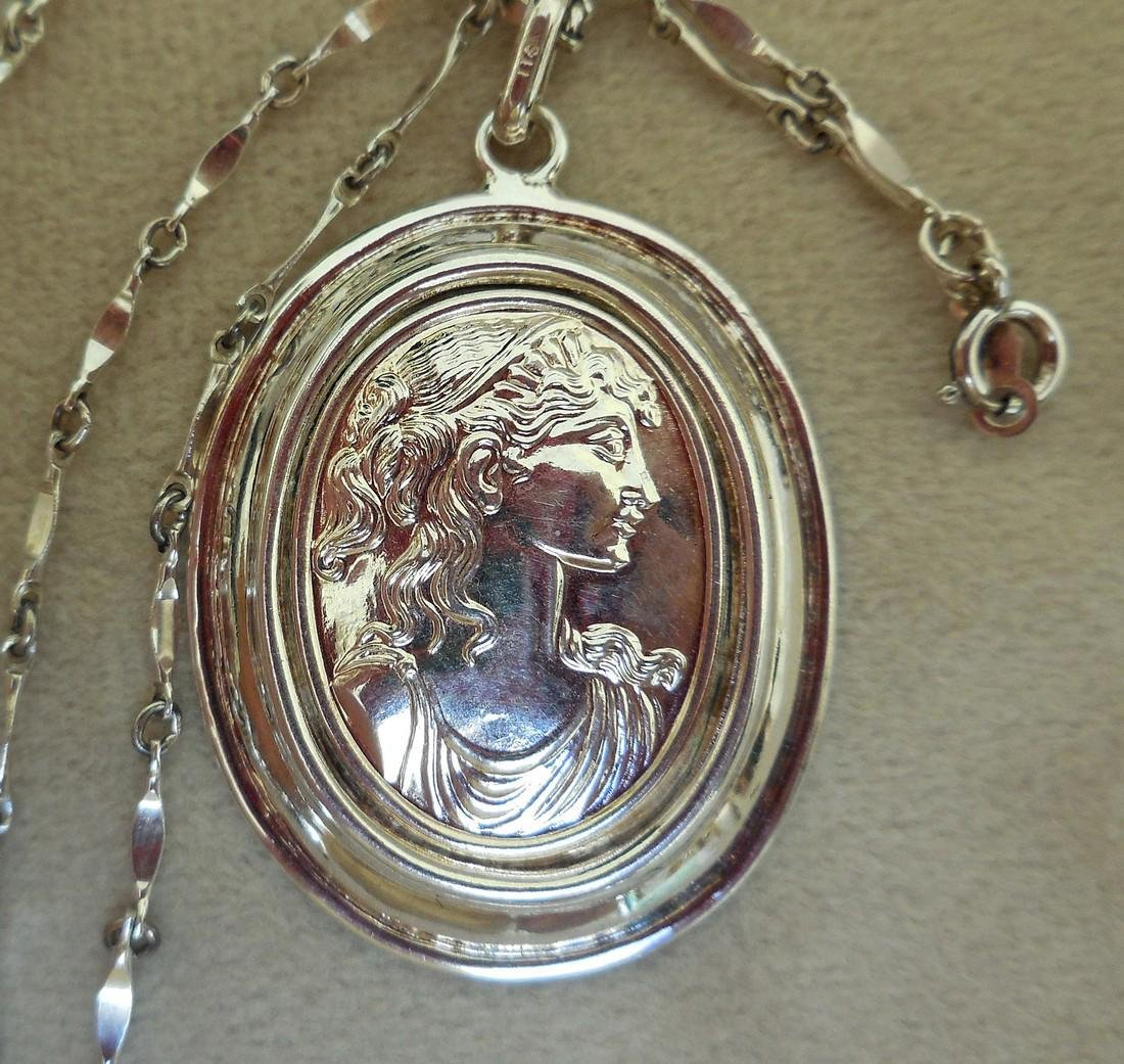 Mid-Century Italian Sterling Silver Cameo Necklace - 7